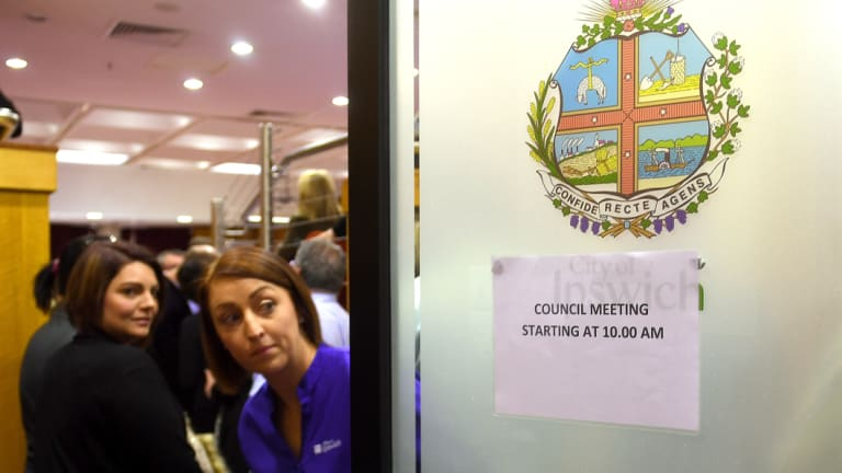 Outside the Ipswich City Council's final meeting at the Ipswich City Council Chambers on Monday.