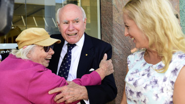 """John Howard - campaigning in Penrith - says Lindsay is a """"microcosm"""" of Australia."""