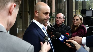 NRL CEO Todd  Greenberg addresses media on day one of the hearing.