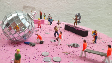 When Mike requested the track 'Murder on the Dance Floor, this was the last thing he expected.  By miniature artist Tinky (aka Liz Sonntag).