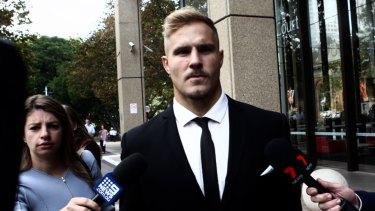 Jack de Belin leaves Federal Court in Sydney on Monday.