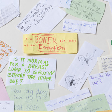 Questions and comments collected from Victorian schoolchildren by consultants from the Sexuality Educators' Collective.