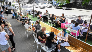 Parklets have proved extremely popular in Gertrude Street, Fitzroy.