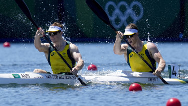 Tom Green and Jean van der Westhuyzen were fastest into the men's K2 1000m final and are bringing home gold.