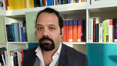 Relieved: Syrian Wassim Mukdad at the Berlin offices of the European Centre for Constitutional and Human Rights.
