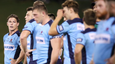 Michael Hooper (far left) could be the only Waratahs player in Dave Rennie's first Wallabies side. And even he's no certainty.