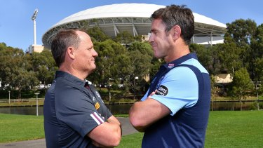 Kevin Walters and Brad Fittler face off at Tuesday's Origin launch.