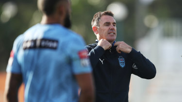 NSW Blues head coach Brad Fittler at State of Origin training.