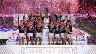 The Sydney Roosters celebrate their 2019 premiership at ANZ Stadium, the last grand final at the venue before it closes for renovations in July.
