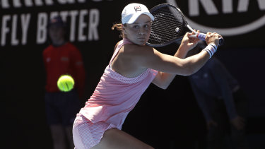 Resilient: Barty battled hard to overcome Sharapova, and utilised her slice to great effect.