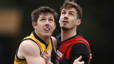 Michael Hartley playing for the club's VFL team.