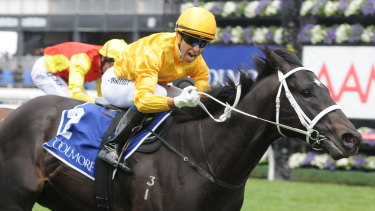 Better days: Joao Moreira wins the Coolmore Stud Stakes on Brazen Beau.
