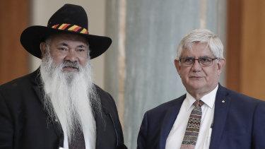 Labor senator Pat Dodson with Minister for Indigenous Australians Ken Wyatt.