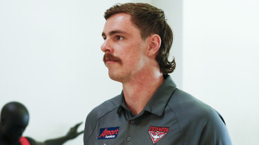 Joe Daniher at a media op ahead of the 2020 season, which he'll start at Essendon following a failed trade request.