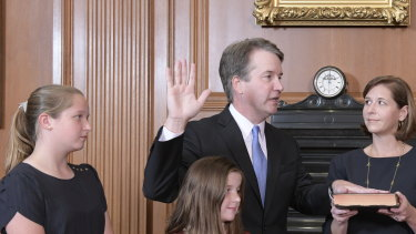 Brett Kavanaugh takes the Constitutional Oath in the Justices' Conference Room of the Supreme Court Building.