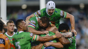 Top of the pile: Only  points difference now keeps Canberra off the top of the NRL ladder.