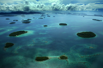 Some of the many reefs and islands of the Solomon Islands.