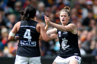 Bri Davey switched from Carlton to the Pies in the offseason.