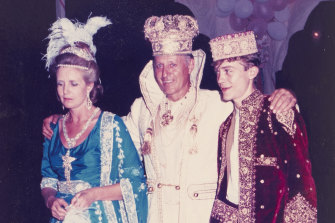 Lady Anne Glenconner with her husband, Lord Colin Glenconner, and son, Charles, at the Peacock Ball in 1986.