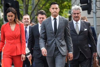 Israel Folau arrives at the Federal Court in Melbourne in 2019.