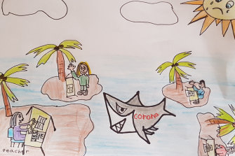 Savannah, year 2, draws what it feels like learning from home.