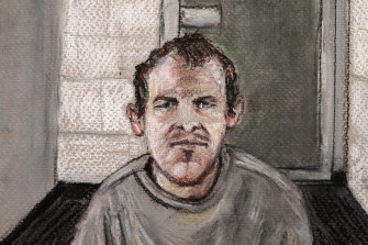 Brenton Tarrant, seen in a 2019 courtroom drawing, appears via video link in court from a maximum security prison in Auckland.