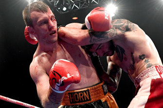 Jeff Horn and Michael Zerafa trade blows during their rematch in Brisbane.