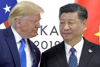 US President Donald Trump with Chinese President Xi Jinping in 2019. The Trump administration's China policies were probably the most antagonistic of any US presidency since the height of the Cold War in the 1960s.