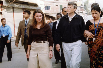 Melinda and Bill Gates in Bangladesh in 2005.