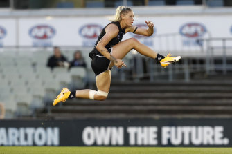 Tayla Harris in action for Carlton in January this year in an AFLW match.