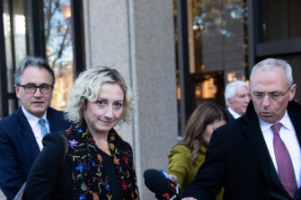 Ben Roberts-Smith's solicitor, Monica Allen, leaves court on Wednesday.
