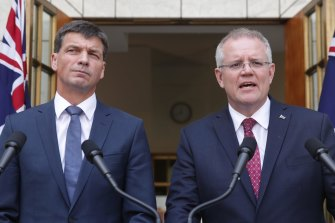 Prime Minister Scott Morrison, right, and Energy Minister Angus Taylor unveiling government energy plans last month.