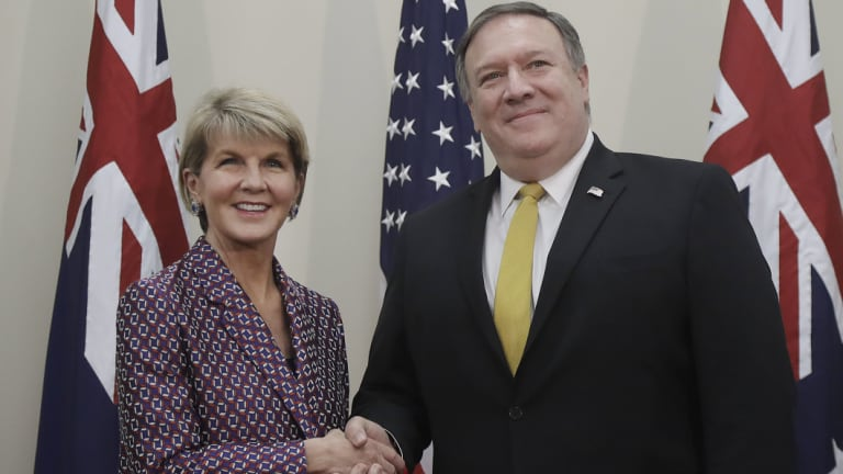 Foreign Affairs Minister Julie Bishop, left, shakes hands with US Secretary of State Mike Pompeo before their meeting on Monday.