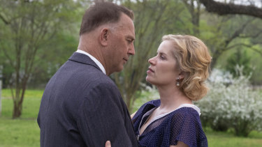 Kevin Costner and Kim Dickens in a scene from The Highwaymen.