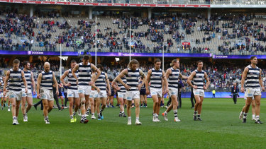 Diminshed: Geelong players leave the field after losing to Fremantle on Saturday.