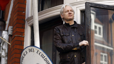 Julian Assange on the balcony of the Ecuadorian embassy in May 2017.