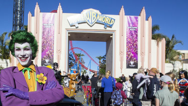 A performer welcomes guests at Warner Bros. Movie World in July this year. Movie World reopened to the public with extra safety and hygiene measures in place following its temporary closure on 23 March 2020 due to the COVID-19 pandemic.