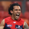 Harley Bennell celebrates a goal earlier this season.