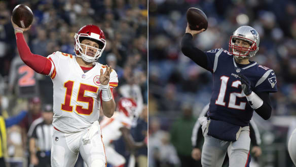 Impeccable record: Tom Brady, right, is the greatest quarterback and winner the game has seen and, left, the Chiefs' Patrick Mahomes.