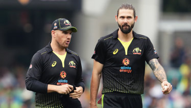 Aaron Finch and Kane Richardson during Sunday's T20 clash against Pakistan.