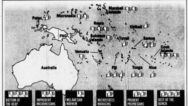 A graphic published in The Age, July 23, 1997 showing highlighting the targets of the report.