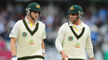 Smith and Hughes in action together during the Ashes in England in 2013.