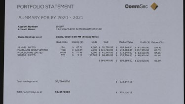 The fake CommSec statement provided to victim Cheryl Kraft Reid.