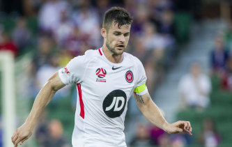 Referee Kurt Ams pointed to the spot in the 86th minute on Sunday, ruling that Wanderers defender Brendan Hamill (pictured) had held back Glory striker Andy Keogh.