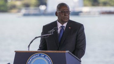 US Secretary of Defence Lloyd Austin,  speaks at a change of command ceremony for the US Indo-Pacific Command in Hawaii on Friday.