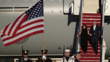 Prime Minister Scott Morrison and Jenny Morrison receive a ceremonial welcome on arrival in the United States last month.