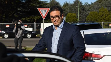 NSW upper house MP Shaoquett Moselmane leaving his home on Lennox Street in Rockdale during a raid by federal agents.