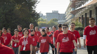Alibaba workers prepare for Singles' Day.
