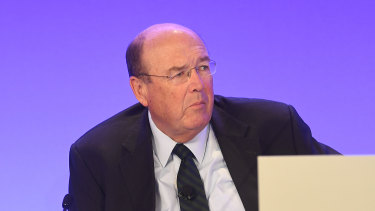 Macquarie chairman Peter Warne at the company's shareholder meeting in Sydney.