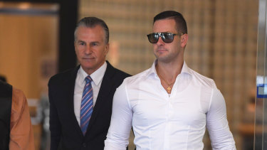 Mr Katsogiannis outside court with his father Arthur earlier this week.